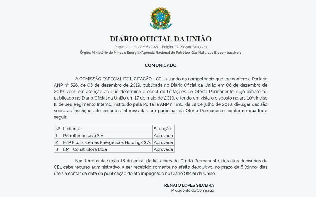 EnP tem inscrição aprovada pela ANP para participar do leilão da Oferta Permanente